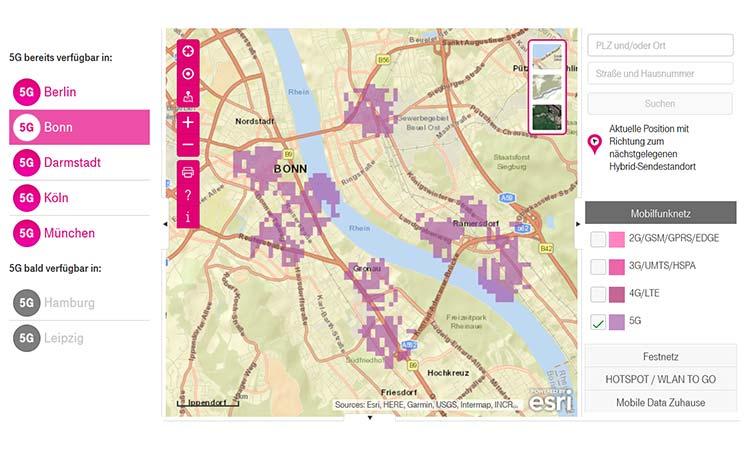 5G Abdeckung auf der Telekom Netzkarte