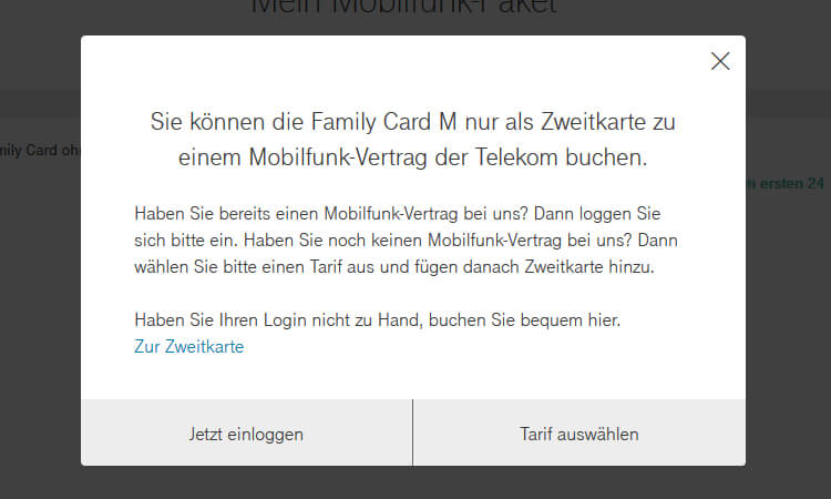 Telekom Family Card: Hinweis Zweitkarte