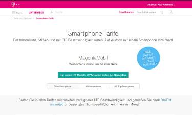 Magenta Mobil Tarife im Telekom Online-Shop (Screenshot)