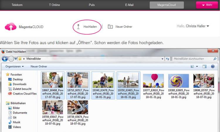 Telekom Magenta Cloud: Dateien hochladen
