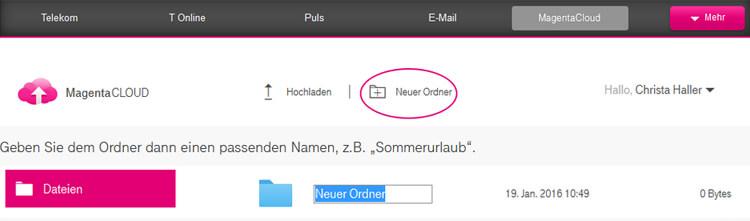 Telekom Magenta Cloud: Ordner anlegen