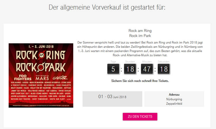 Telekom Magenta EINS Prio Tickets Beispiel