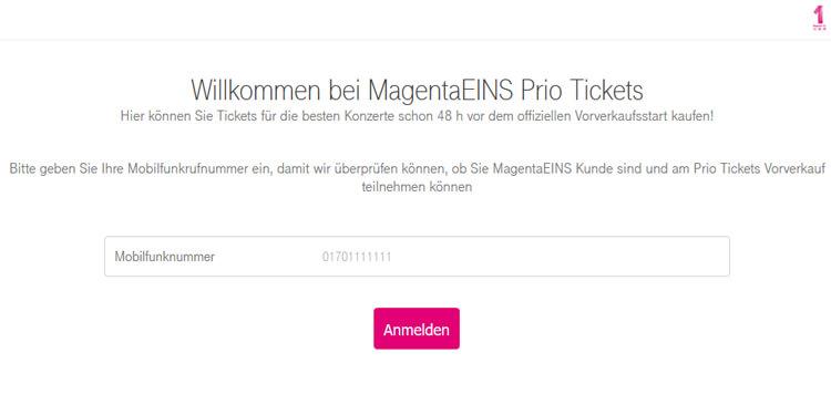 Buchung der Telekom Prio Tickets