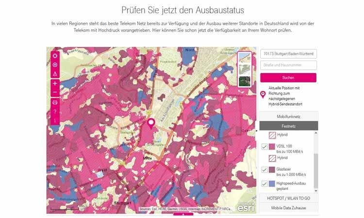 dsl verfügbarkeit karte Telekom Ausbaukarte   Interaktive Karte zeigt Telekom Verfügbarkeit
