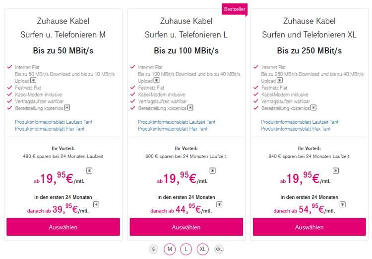 Telekom Zuhause Kabel Tarife in der Übersicht