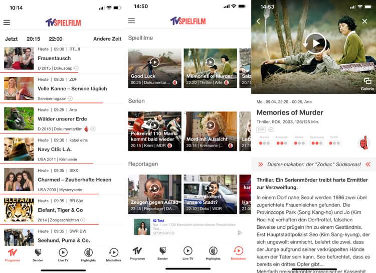 TV Spielfilm App: Aktuelles Programm, Programmtipps und ausführliche Infos