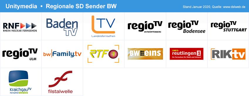 Zusätzliche digitale Sender bei Unitymedia (SD) in Baden-Württemberg