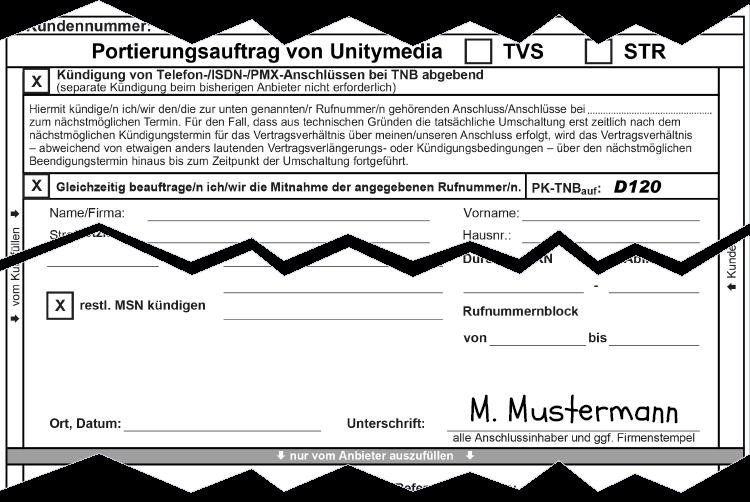 Unitymedia Anbieterwechsel: Portierungsauftrag
