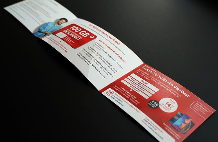 Vodafone Gutschein aufgeklappt