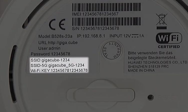 GigaCube WLAN Key finden