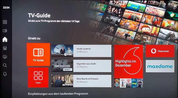 Vodafone GigaTV Net: Startseite