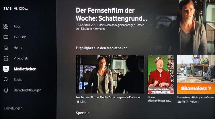 Vodafone GigaTV Net: Startseite Mediatheken