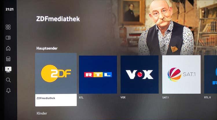 Vodafone GigaTV Net: Übersicht Mediatheken
