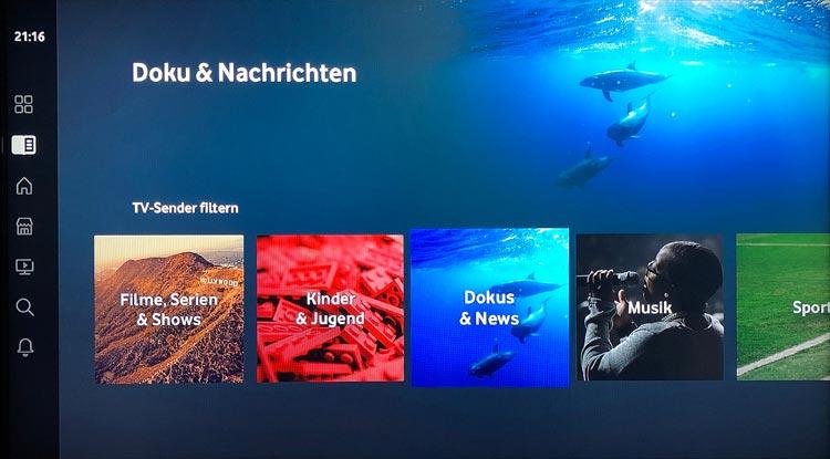 Vodafone GigaTV Net: TV-Guide - TV-Sender filtern