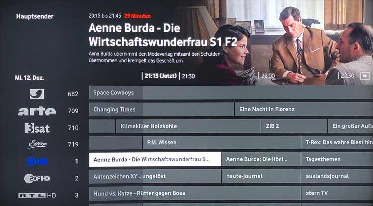 Vodafone GigaTV Net: Programmführer