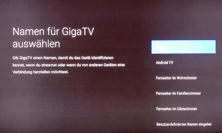 Vodafone GigaTV Net Box: Name auswählen