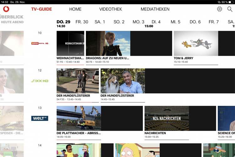 Screenshot: GigaTV App EPG