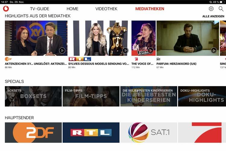Screenshot: GigaTV App Mediatheken