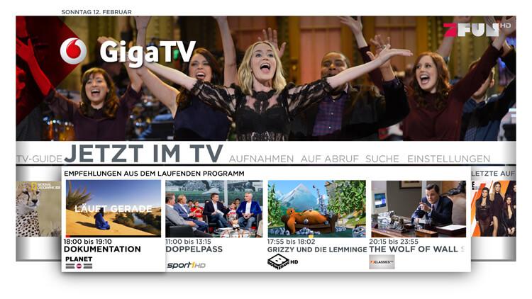 Menü von Vodafone Giga TV