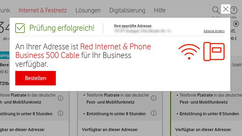 Vodafone Business Internet Verfügbarkeits-Prüfung
