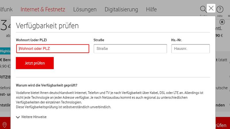 Vodafone Business Internet Verfügbarkeit prüfen