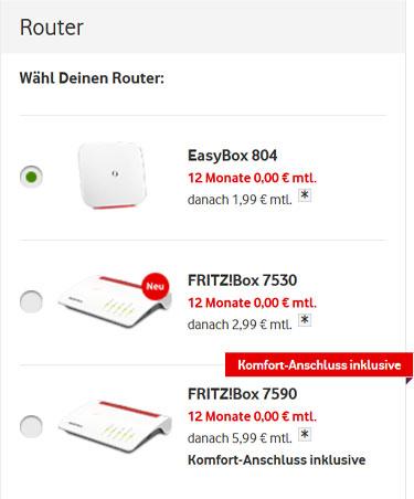 Router wählen bei Vodafone DSL
