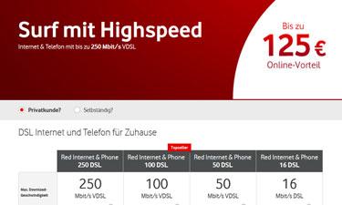 Screenshot Vodafone DSL Online-Shop