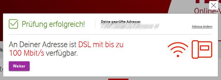 erfolgreiche Vodafone DSL Verfügbarkeit