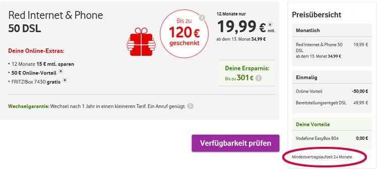 Vodafone DSL Vertragslaufzeit