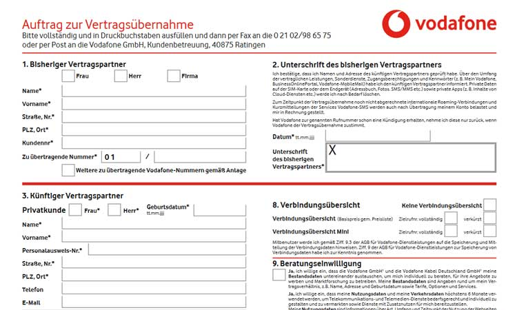 Vodafone Formular zur Vertragsübernahme (Ausschnitt)
