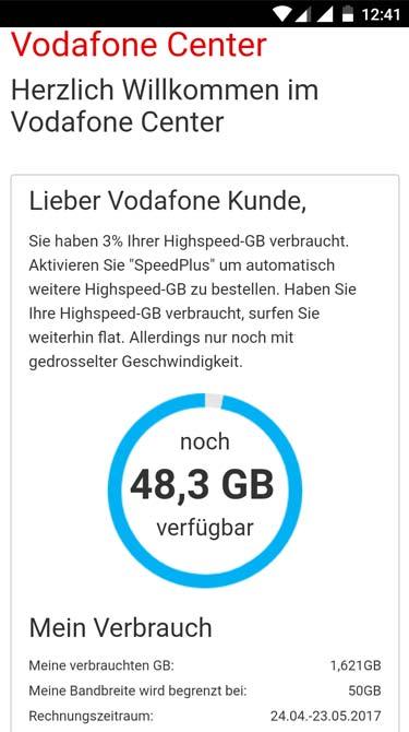 Vodafone Giga Cube - versurftes Datenvolumen prüfen