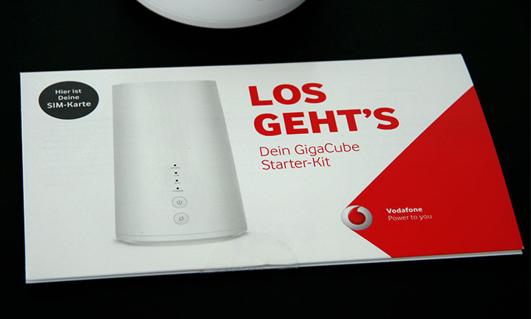 Vodafone Giga Cube - Verpackung der SIM Karte