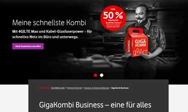 Screenshot Vodafone GigaKombi Business