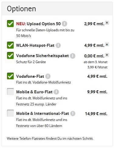 Zusatz-Optionen zu Vodafone Kabel