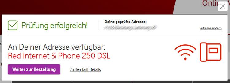 Vodafone VDSL Verfügbarkeit: Prüfung erfolgreich