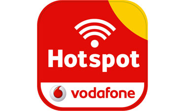 Vodafone WLAN Logo weist Hotspot Standorte aus