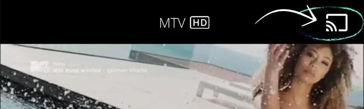Screenshot: Cast-Symbol in Waipu TV App