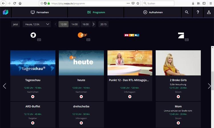 Screenshot: Programmübersicht im Waipu TV Webplayer