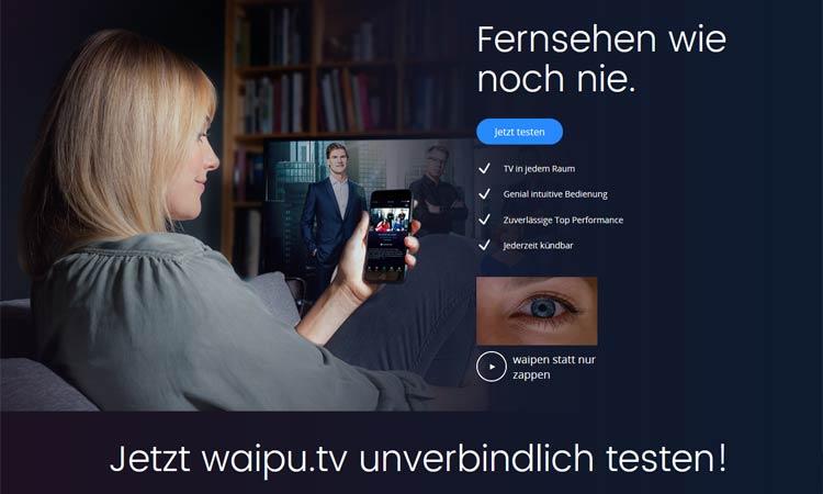 Screenshot Waipu TV Webseite