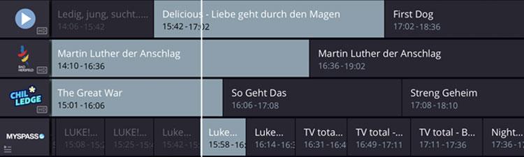 Screenshot Waipu TV App: VoD Kanäle in Senderliste