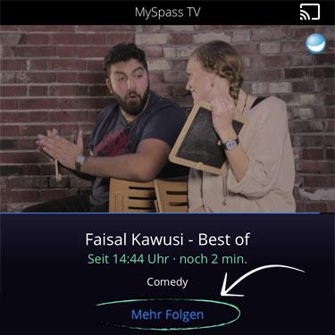 Screenshot Waipu TV App: Link zum VoD Angebot