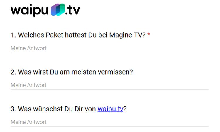 Screenshot Befragung Waipu TV Wechselaktion