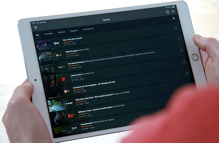 Zattoo App auf dem iPad