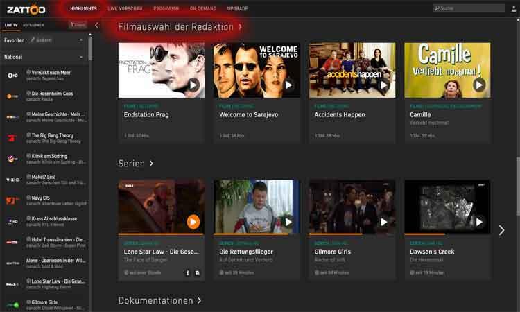 Screenshot Zattoo Filmauswahl der Redaktion