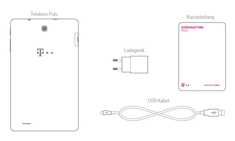 Der Lieferumfang beim Telekom Puls Tablet
