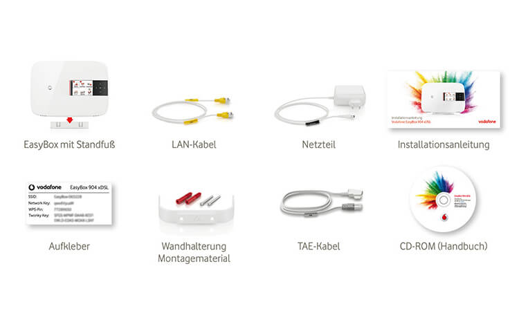 Vodafone Easybox 904 xDSL Lieferumfang