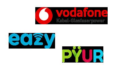 Logos der Kabelanbieter - Vodafone, Unitymedia, Tele Columbus,Kabel Deutschland