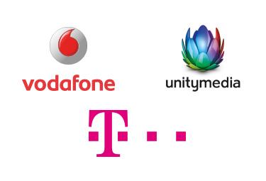Vodafone, Unitymedia + Telekom Logo