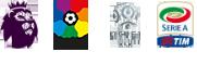 Logos Premier League, La Liga,  Ligue 1, Serie A