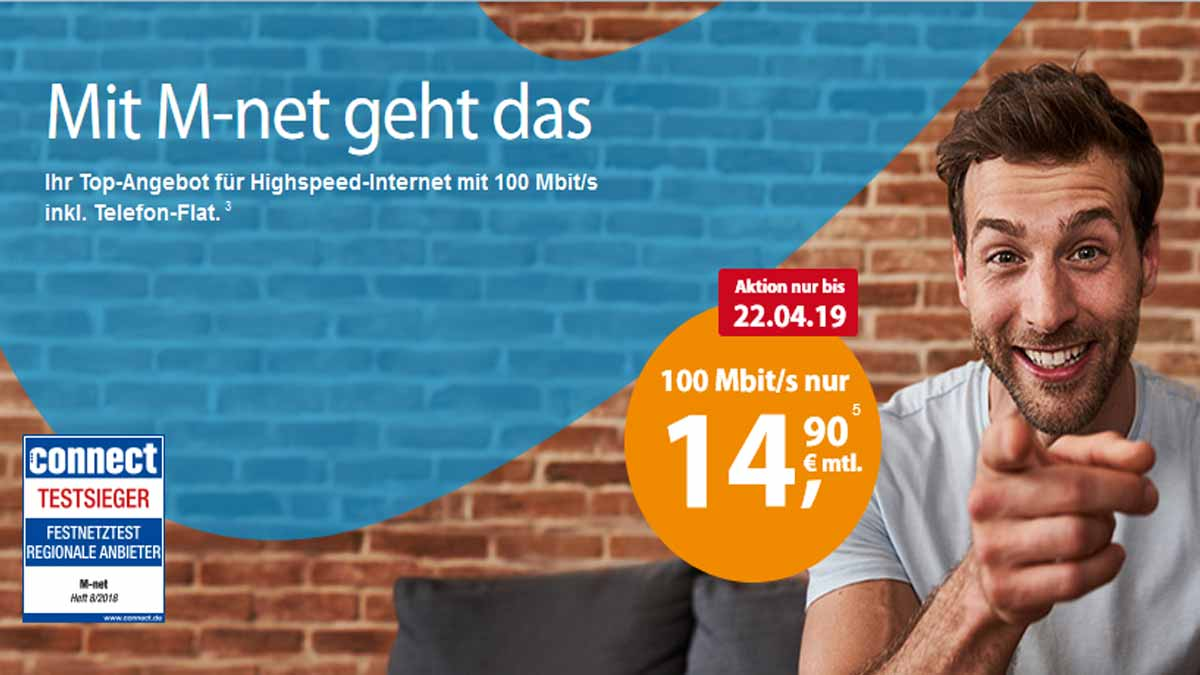 M-net 100 Mbit/s Aktionsangebot